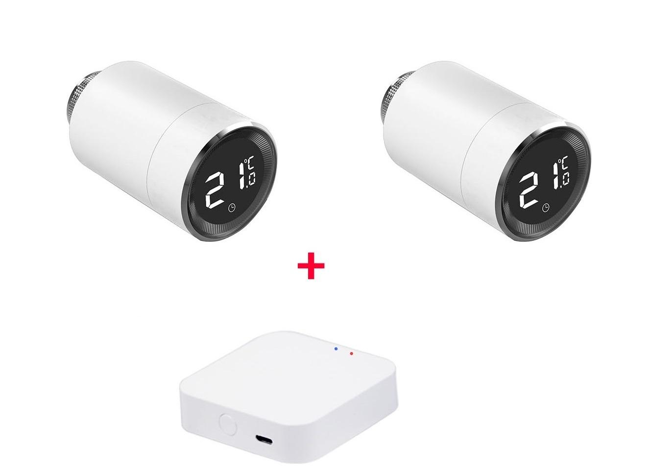 Умный дом: Комплект термоконтроль - контроллер (шлюз) Tervix Zigbee Gateway и 2 беспроводные радиаторные термоголовки Tervix EVA - 1