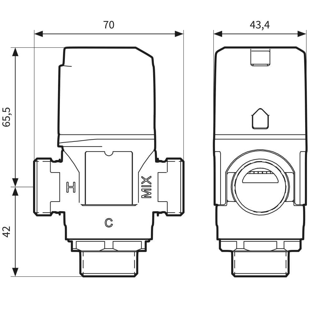 """Термостатический клапан 3/4"""" Afriso ATM343 с защитой от ожогов для ГВС T=35-60°C G 3/4"""" DN15 Kvs 1,6 1234310 - 7"""