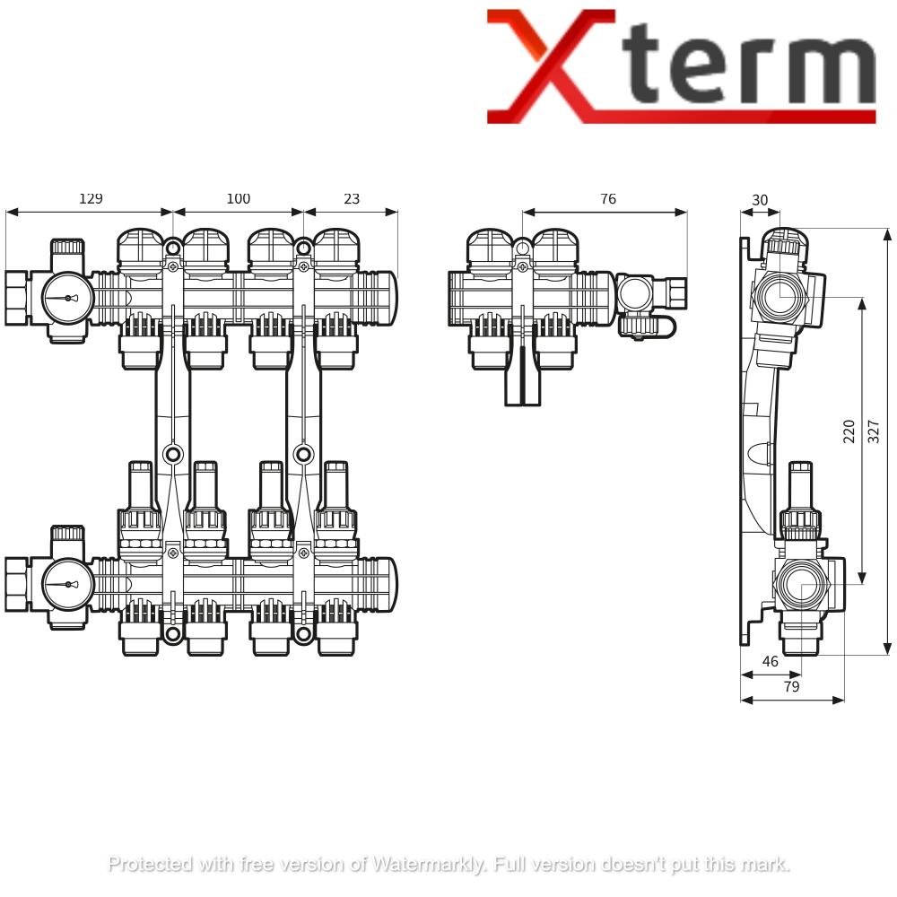 Коллектор на 5 контуров для подключения теплого пола ProCalida AFRISO EF 1/5 - 1