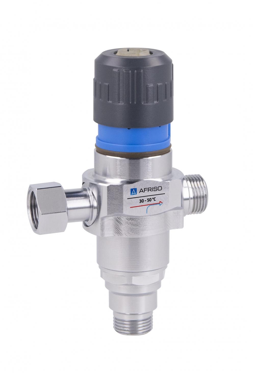 """Термостатический клапан Afriso - установка за 5 мин. 3/8"""" 30-50°C антиожог DN10, смесительный клапан  - 1"""