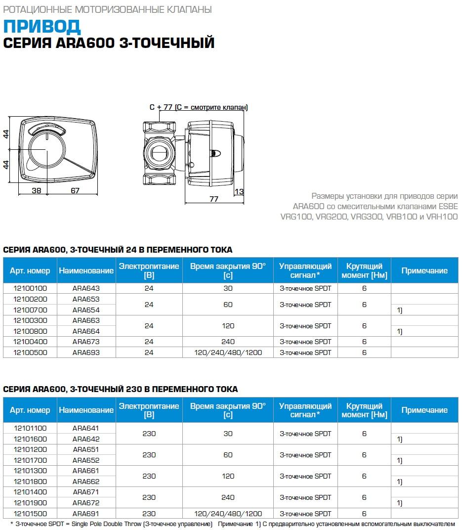 Электропривод Esbe  ARA661 230В/ 2 мин. 3 точки - 1