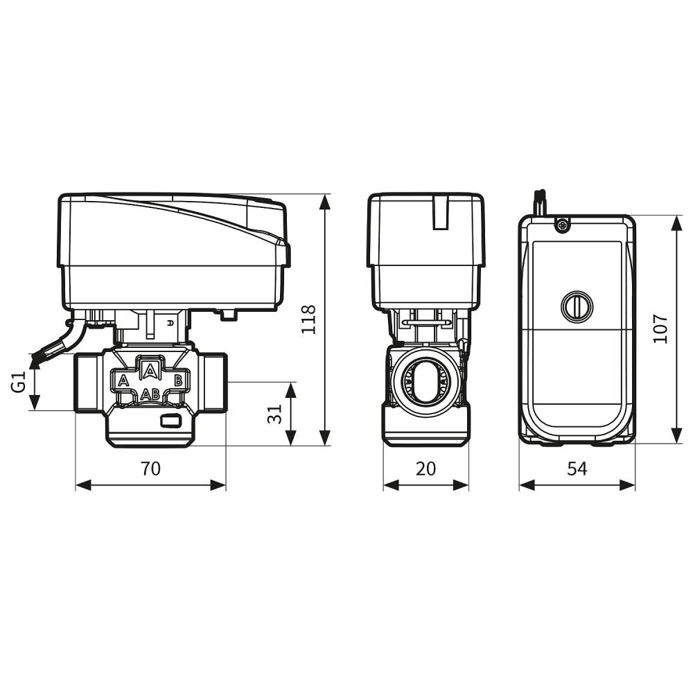 """Трехходовой зонный переключающий клапан Afriso AZV642 DN15, G3/4"""", kvs 8, 230В АС 2 точки, c кабелем - 2"""