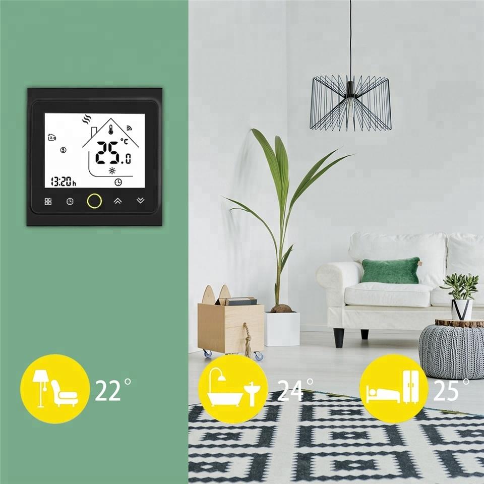 Умный дом: WIFI комнатный термостат для водяного / электрического теплого пола Tervix, датчик 3м, черный - 3
