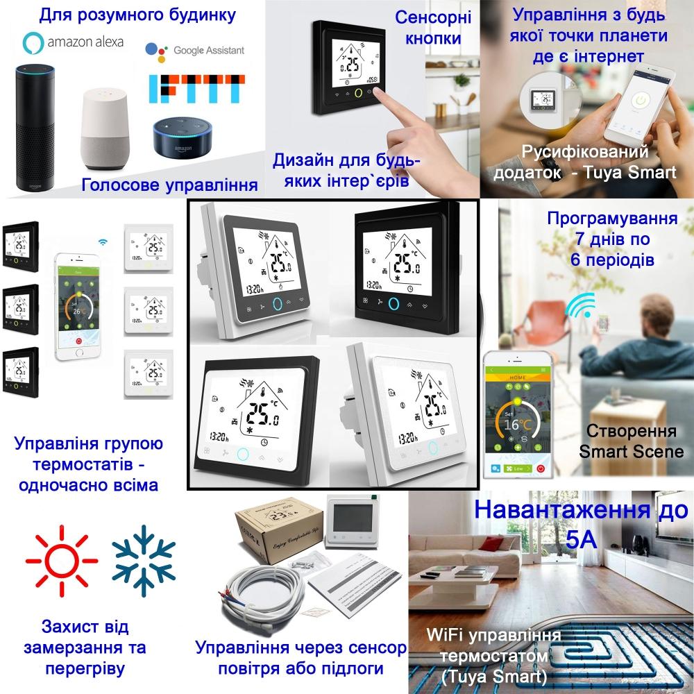 Умный дом: WIFI терморегулятор для водяного теплого пола Tervix с датчиком 2,5м 114221, программируемый. Умный дом. Беспроводное + голосовое управление - 1