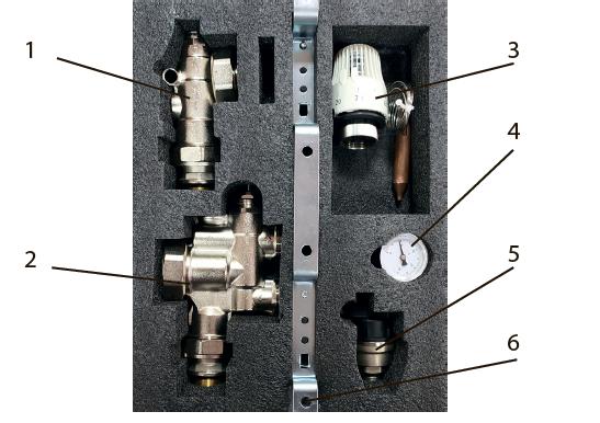 """Смесительный узел 1"""" Tervix Pro Line для теплого пола  без насоса, с управлением термоголовкой  - 1"""