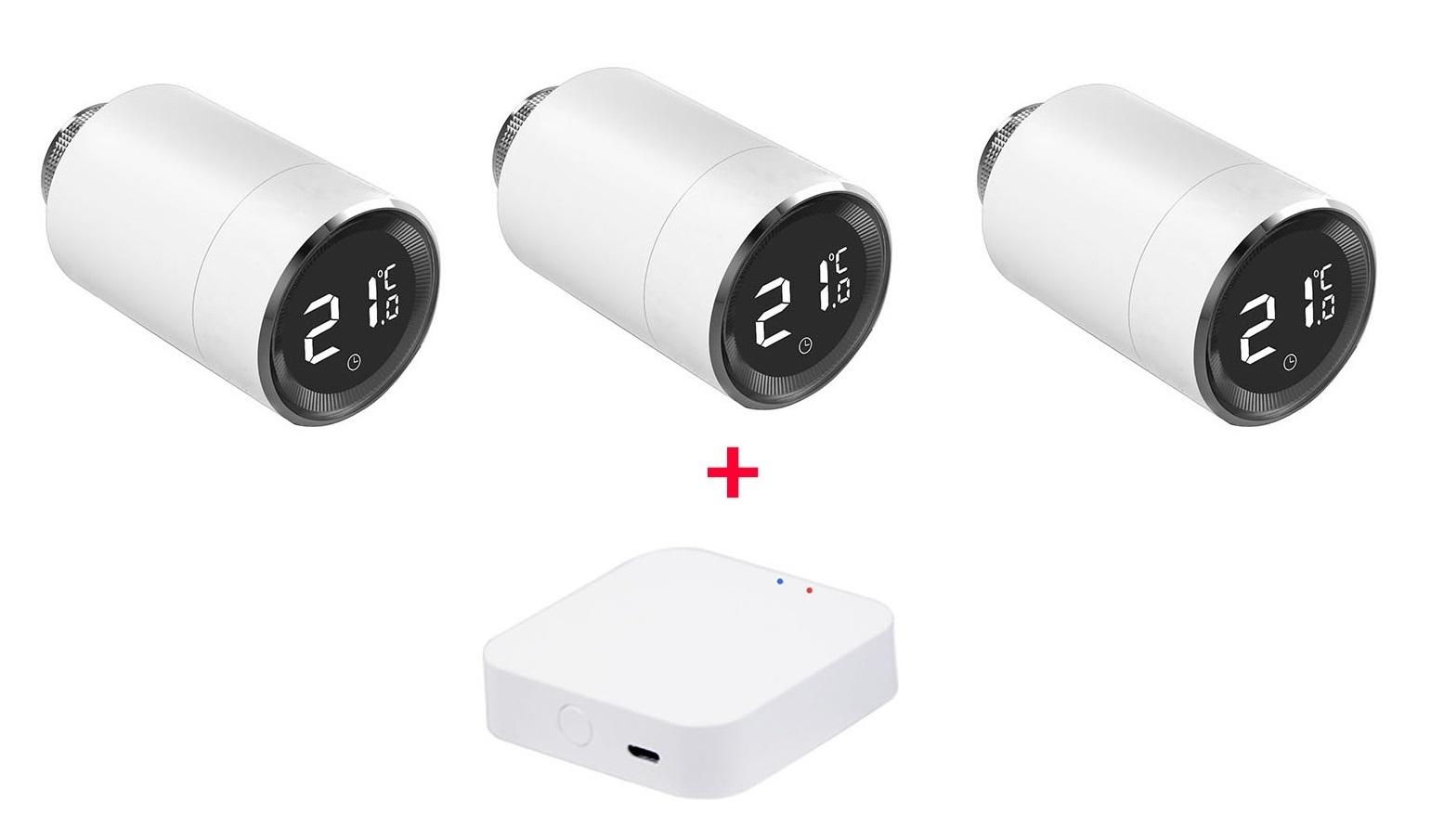 Умный дом:  Комплект термоконтроль - контроллер (шлюз) Tervix Zigbee Gateway и 3 беспроводные радиаторные термоголовки Tervix EVA - 11