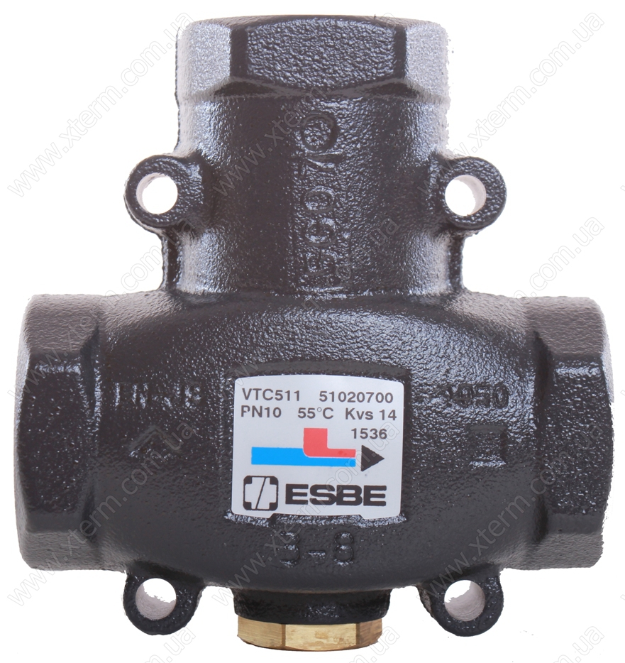 "ESBE VTC511 3-ходовой термический клапан T=55°C Rp 1 1/4"" Kvs 14 - 1"