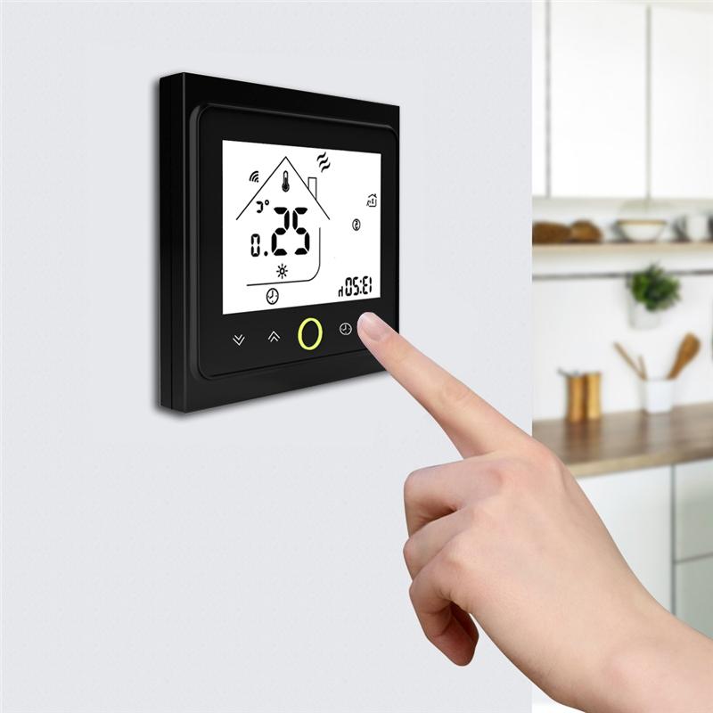 Умный дом: WIFI комнатный термостат для газовых и электрических котлов, черный - 2