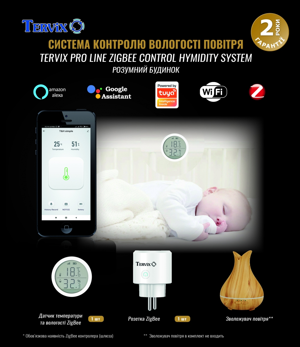 Комплект умного дома: контроль температуры и влажности в детской Tervix ZigBee с управлением увлажнителем - 3