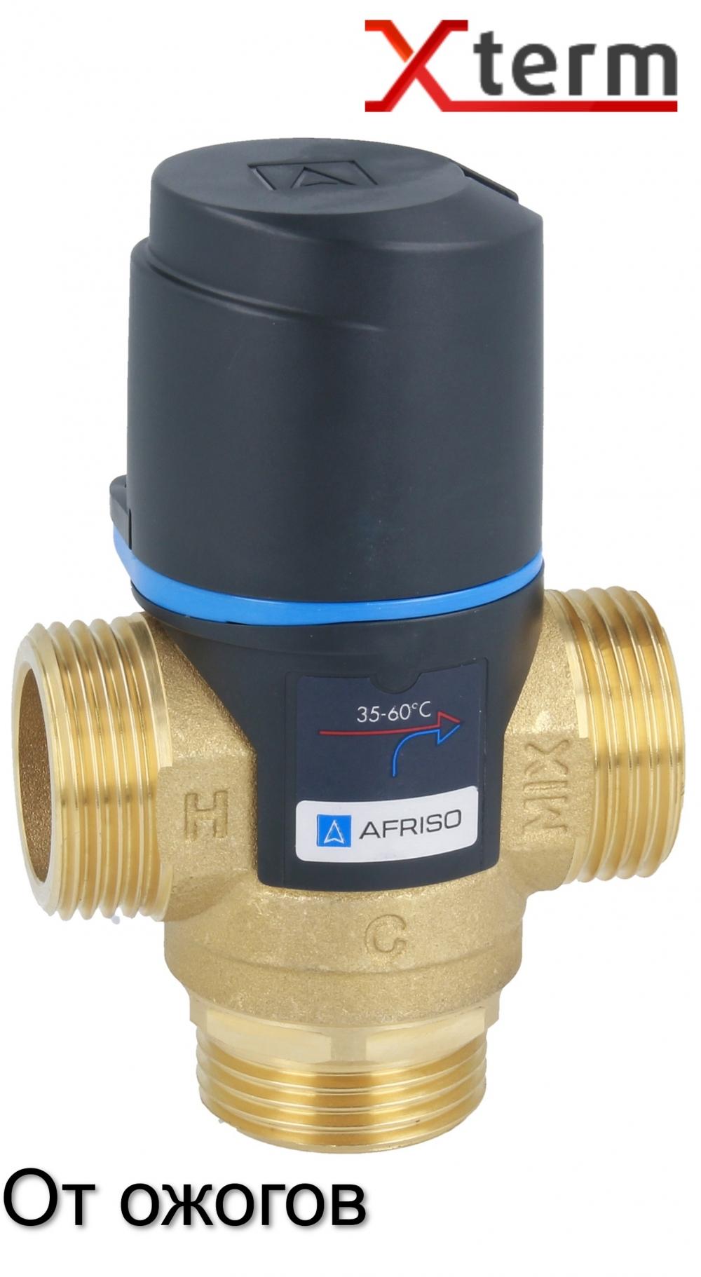 """Термостатический клапан 1"""" Afriso ATM363 с защитой от ожогов для ГВС T=35-60°C G 1"""" DN20 Kvs 1,6 1236310 - 4"""